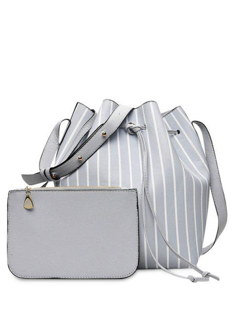hot Pouch Bag and Striped Bucket Bag - GRAY  Mobile