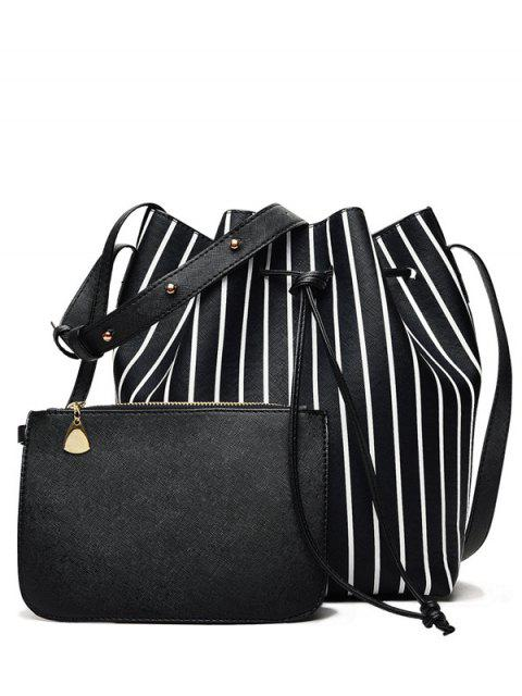 outfit Pouch Bag and Striped Bucket Bag - BLACK  Mobile