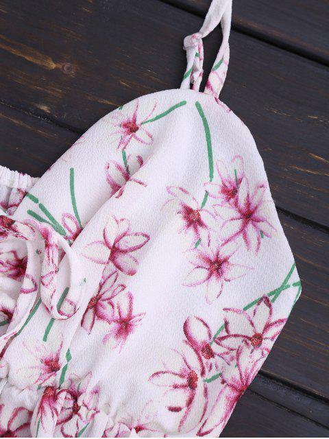 Top cami +Shorts imprimés floral embellie falbalas à taille haute - Floral S Mobile