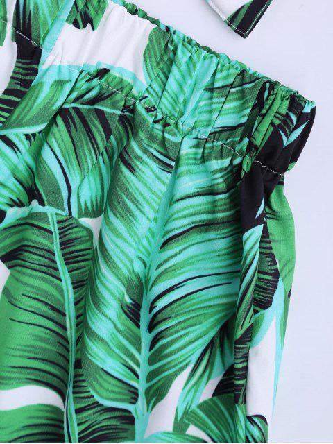 Ensemble Haut et Shorts imprimé feuille sans bretelle - Vert M Mobile