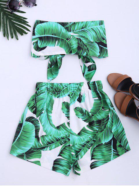 Ensemble Haut et Shorts imprimé feuille sans bretelle - Vert L Mobile