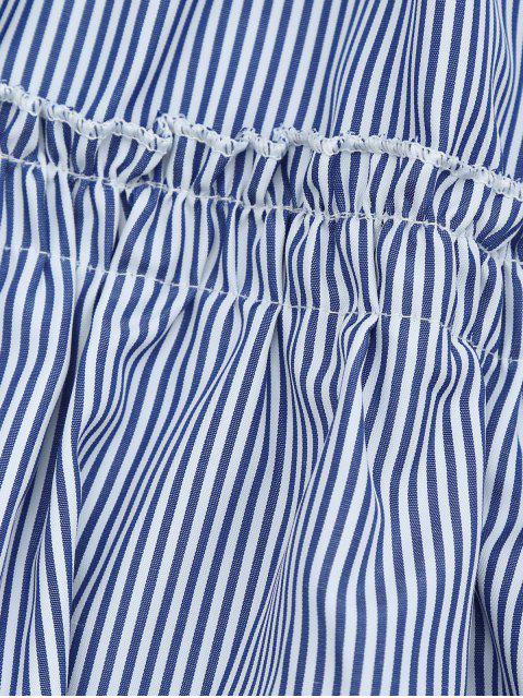 Robe rayée plissée à col plongeant avec ceinture - Rayure L Mobile