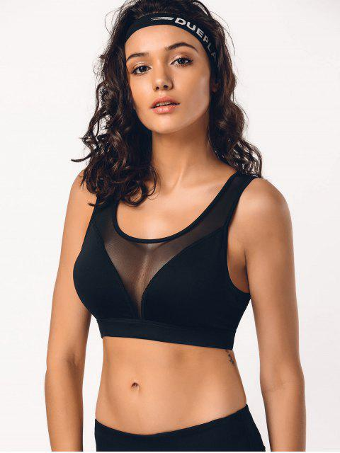 hot Cut Out Mesh Padded Sporty Bra - BLACK S Mobile