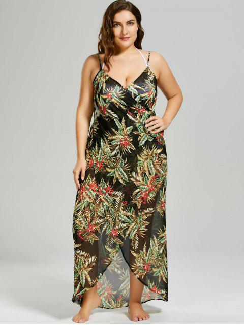 trendy Plus Size Tropical Leaf Cover-up Wrap Dress - BLACK XL Mobile