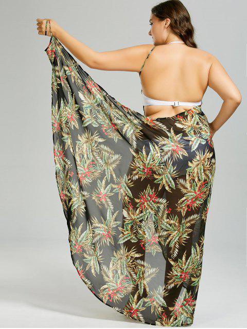 sale Plus Size Tropical Leaf Cover-up Wrap Dress - BLACK 3XL Mobile