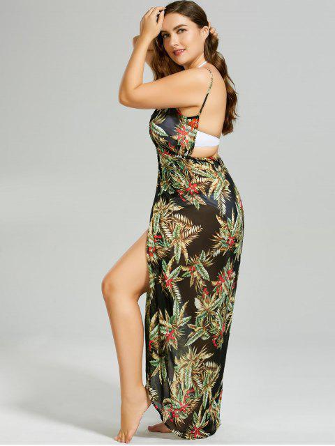 affordable Plus Size Tropical Leaf Cover-up Wrap Dress - BLACK 4XL Mobile