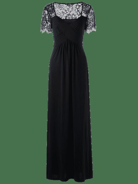 Robe grande taille insérée dentelle avec taille empire - Noir XL Mobile