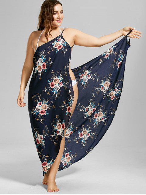 hot Plus Size Tiny Floral Beach Cover-up Wrap Dress - PURPLISH BLUE 3XL Mobile