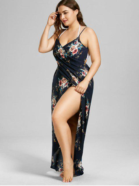 outfits Plus Size Tiny Floral Beach Cover-up Wrap Dress - PURPLISH BLUE 4XL Mobile