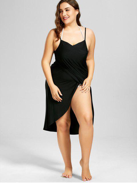 women's Plus Size Beach Cover-up Wrap Dress - BLACK 3XL Mobile