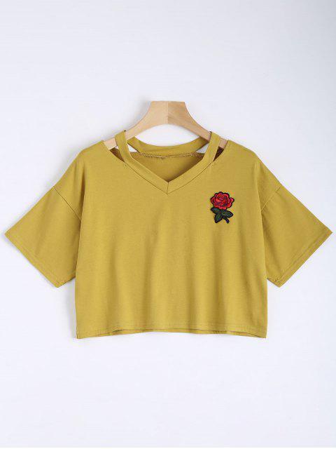 Top de hombro frío bordado floral - Amarillo S Mobile
