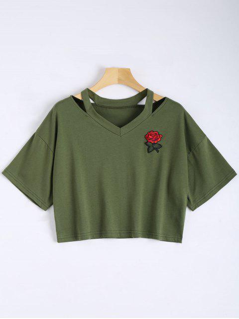 Top de hombro frío bordado floral - Verde del ejército S Mobile