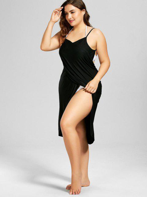 Robe Grande Taille Enveloppante Couverture de Plage - Noir 3XL Mobile