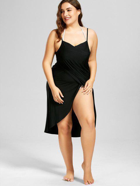 womens Plus Size Beach Cover-up Wrap Dress - BLACK XL Mobile