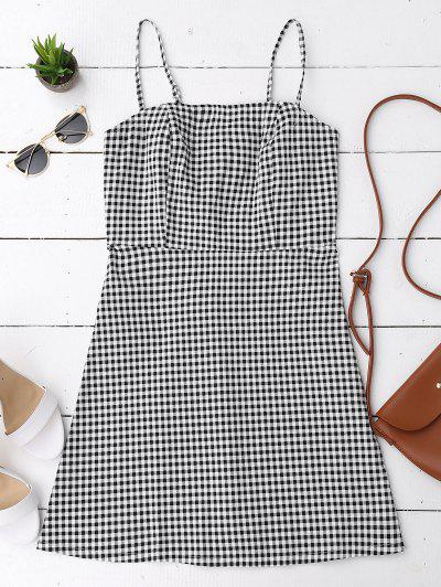 Back Zipper Checked Slip Mini Dress - Checked S