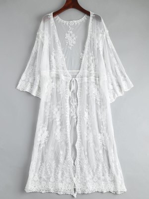 Embroidered Oversized Lace Beach Kimono Cover Up