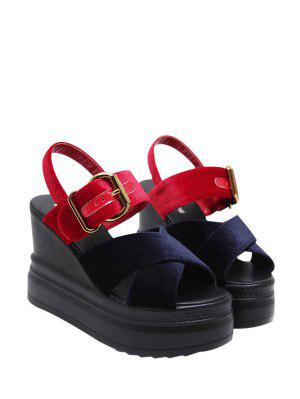 Platform Buckle Strap Velvet Sandals - Blue And Red 37