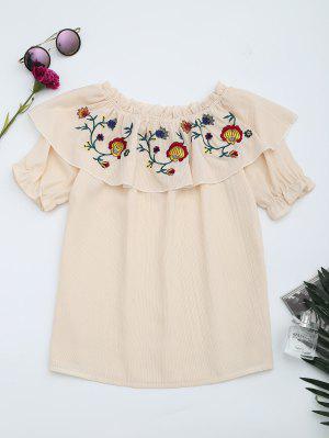Blusa Floral Bordada Com Flocos Com Flocos - Damasco