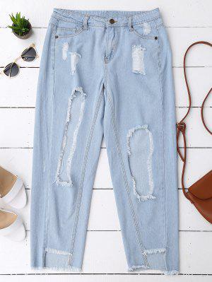 Cutoffs Serious Desgastado Jeans Cónicos - Denim Blue L