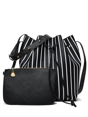 Pouch Bag and Striped Bucket Bag