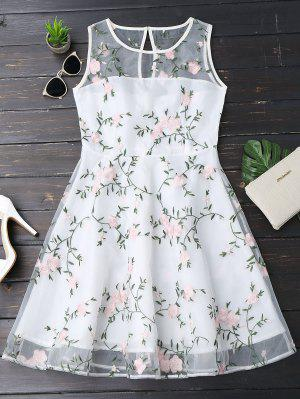 Floral Patched Sleeveless Organza Dress - White L