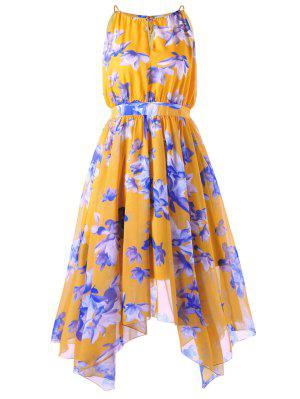 High Waisted Plus Size Asymmetric Chiffon Dress - Mandarin 4xl