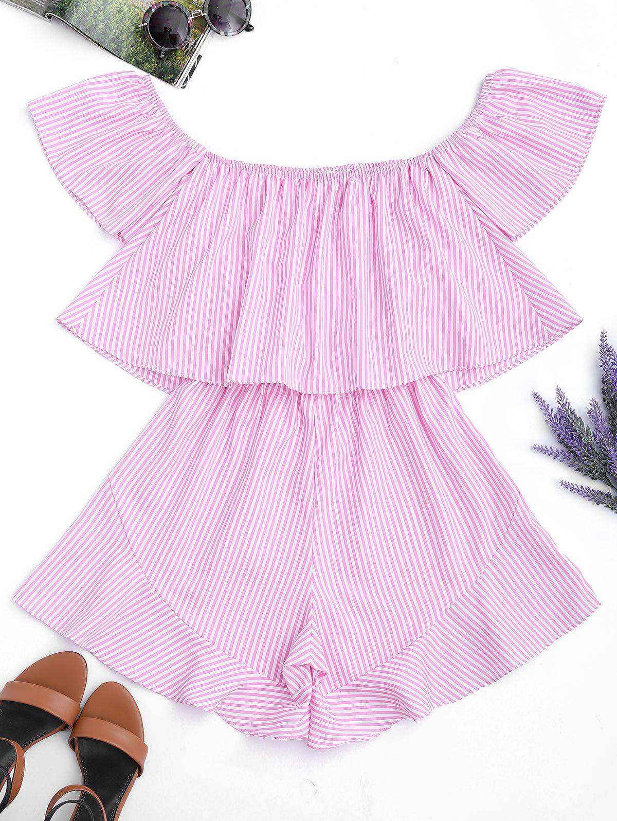 Ruffle Striped Off The Shoulder Romper 214841006