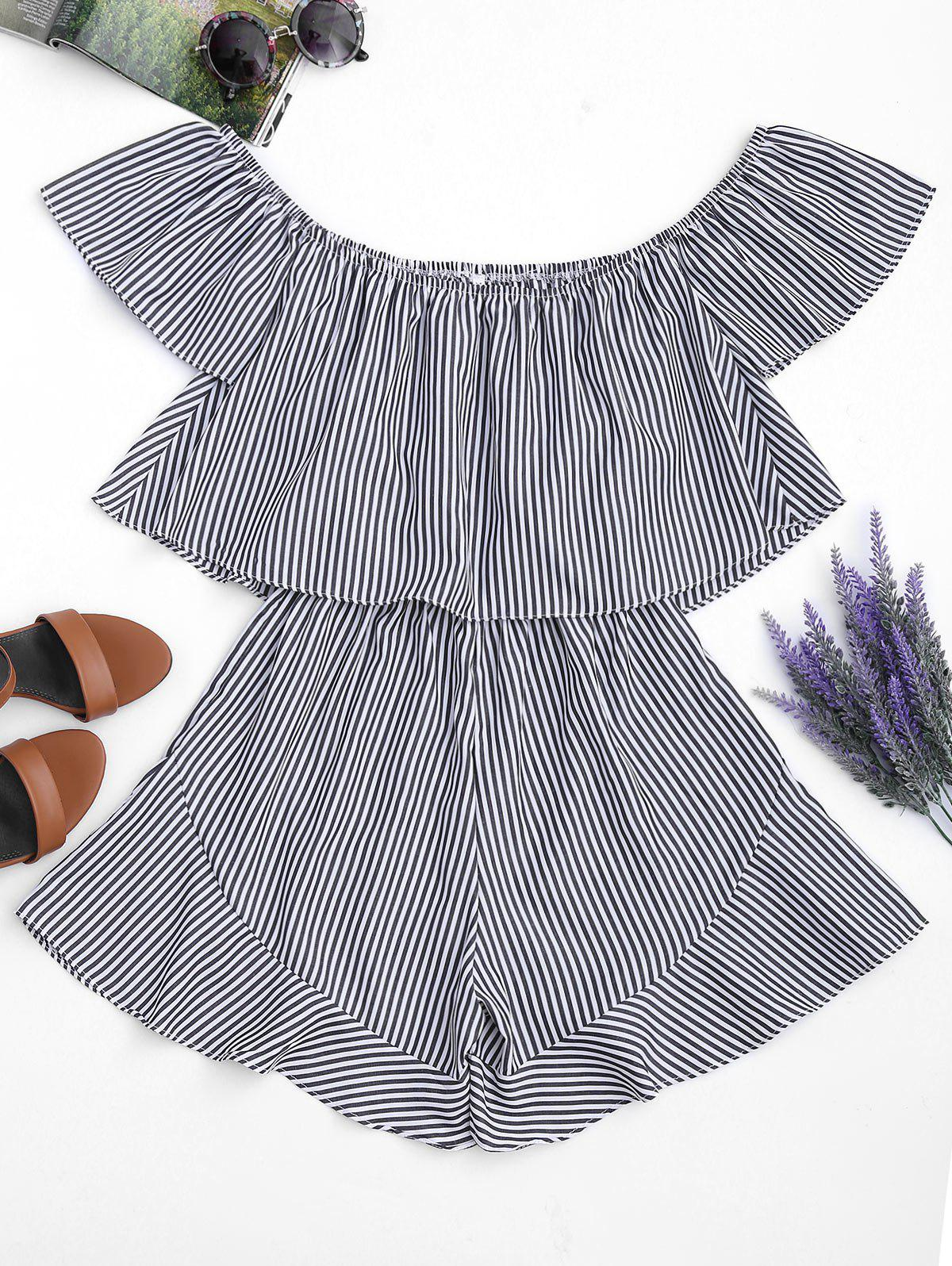 Ruffle Striped Off The Shoulder Romper 214841009