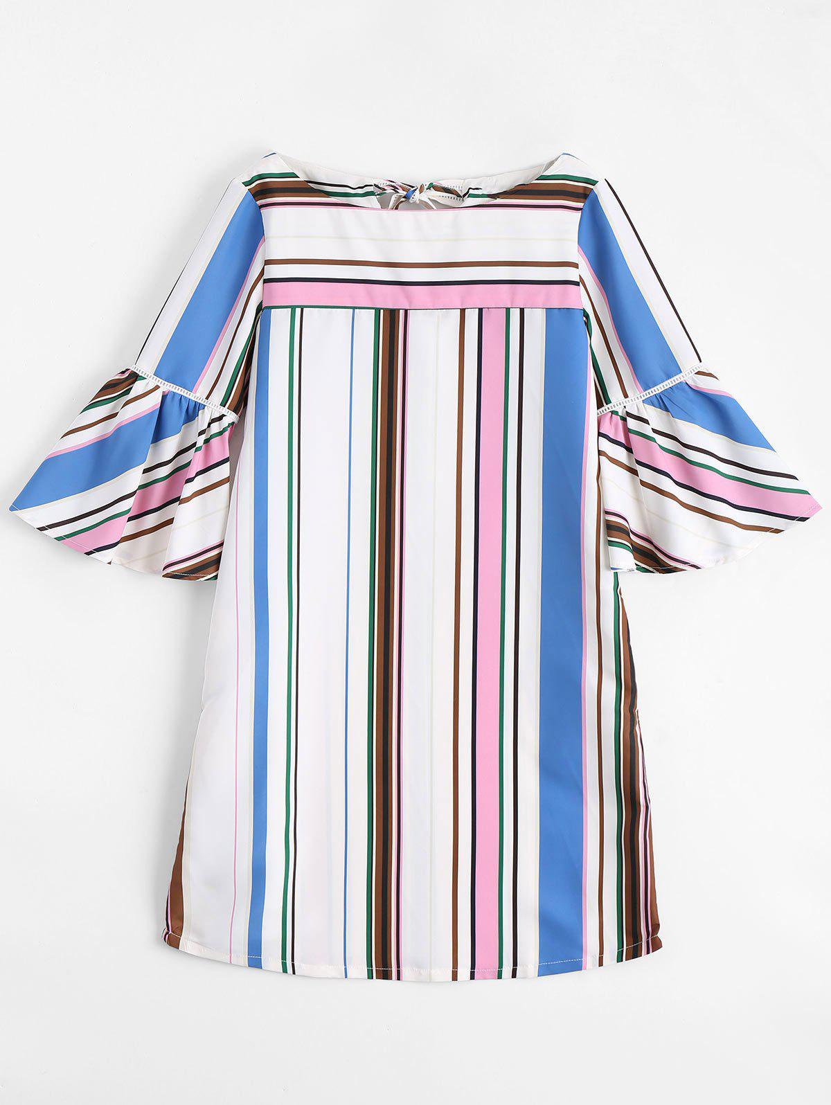 Flare Sleeve Stripes Shift Mini Dress 216663502