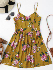 Cutout Back Floral Mini Slip Dress - Floral S