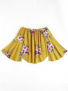 Floral Flare Sleeve Off Shoulder Top - Yellow S
