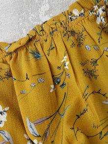 793ebf631a78a9 17% OFF  2019 Self Tied Floral Off Shoulder Top In YELLOW