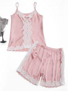 Lace Trim Cami Top With Satin Shorts - Pink M