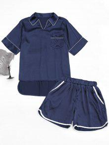 High Low Satin Top With Piping Shorts - Purplish Blue M