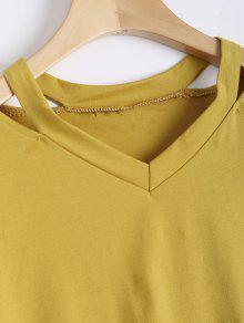 7795b38c8aa6ee 35% OFF  2019 Floral Embroidered Cold Shoulder Top In YELLOW