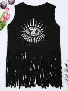 Printed Fringed Tank Top - Black Xl