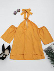 Cut Out Self Tie Halter Blouse - Ginger 2xl