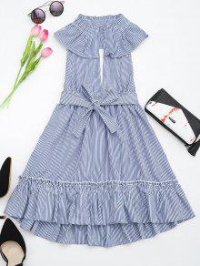 Plunging Neck Ruffles Striped Belted Dress - Stripe L