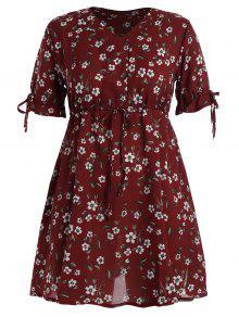 Vestido De Tafetán De Gasa - Rojo Oscuro 5xl