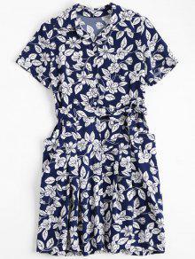 Floral Belted Vintage Shirt Dress - Floral L