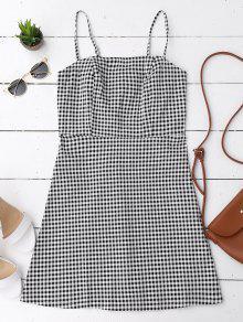 فستان سستة الظهر ذو نمط مربعات مصغر - التحقق M