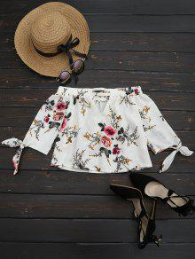 Off The Shoulder Floral Impreso Blusa - Blanco M