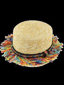 قوس قزح شرابة جديلة الشاطئ قبعة القش - كاكي
