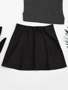 Faux Suede Mini A-Line Skirt - Black M