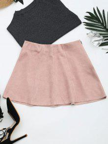 Faux Suede Mini A-Line Skirt - Pink S