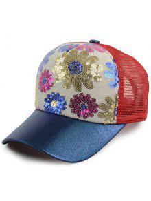 الأزهار نمط الترتر مزين قبعة بيسبول - أحمر