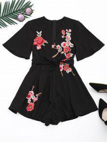 Manteau à Pied Plongeant Floral - Noir L
