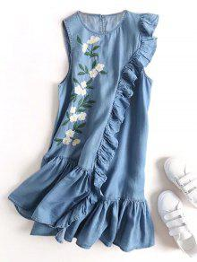 Floral Embroidered Ruffles Casual Dress - Denim Blue L