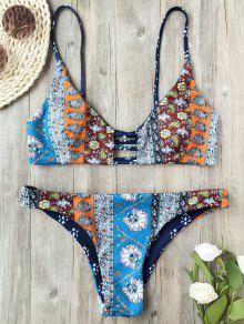 Reversible Retro Print Ladder Cut Padded Bikini - Floral S