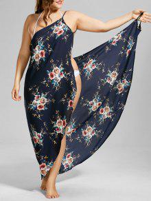 بالإضافة إلى حجم صغير الزهور شاطئ التستر التفاف اللباس - الأرجواني الأزرق 5xl